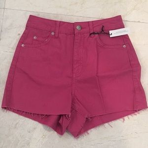 TOPSHOP Moto Mom Denim Pink Shorts Size 4 NEW
